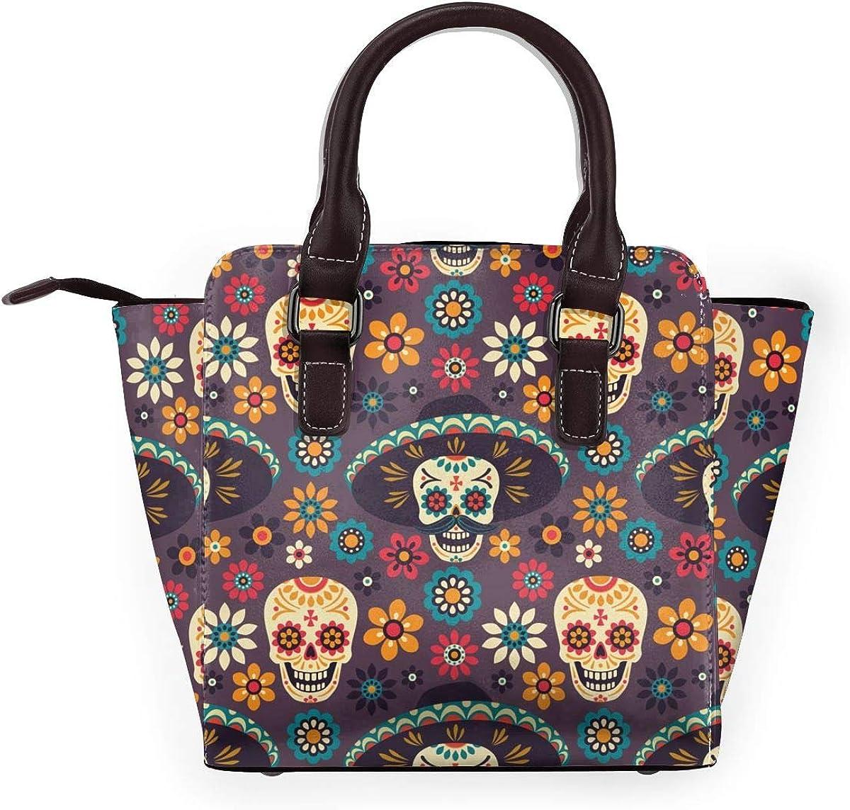 Sac à bandoulière en cuir véritable avec rivets Motif fleurs et squelettes dansants Colorful Sugar Skulls Flowers1