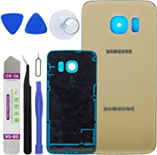 LUVSS New Back Glass Replacement for [Samsung Galaxy S6 Edge] G925 (All Carriers) Rear Cover Glass Panel Case Door Housing with Adhesive Preinstalled Repair Part (Gold)