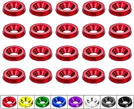 CNC Billet Aluminum Bumper Fender Washer/Bumper Washer Bolt/Engine Bay Dress Up- 20 Pieces Kit (Red)