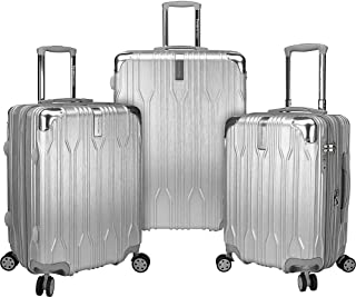 Bell Weather 3 Piece Expandable Spinner Luggage Set (Silver)