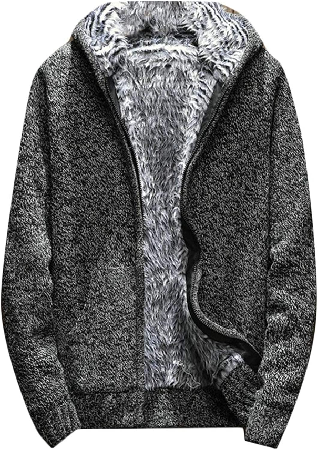 LKCEN-CA Mens Winter Zip up Warm Fleece Lined Solid Knitted Hoodie Jacket Sweaters
