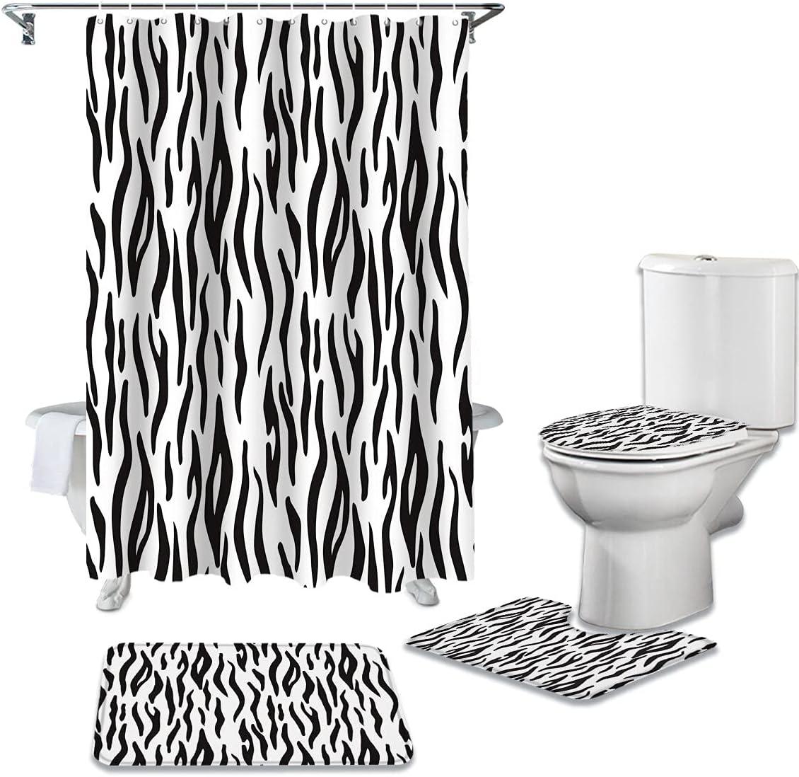 Animal Zebra Shower Curtain Toilet Max Dealing full price reduction 71% OFF Lid Bath Bathro Mat Set Cover