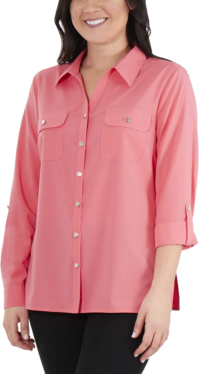 NY Collection 3/4 Roll Tab Sleeve Button Down Blouse
