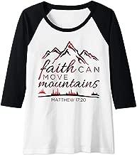 Womens Faith Can Move Mountains Plaid Christian Gifts Women Kids Raglan Baseball Tee