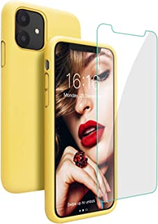 JASBON Case for iPhone 11 Case,Silicone Shockproof Phone Case with Free Screen Protector,Gel Rubber Case Full Body Protection Drop Protection Cover for iPhone 11 6.1 inch(2019)-Yellow