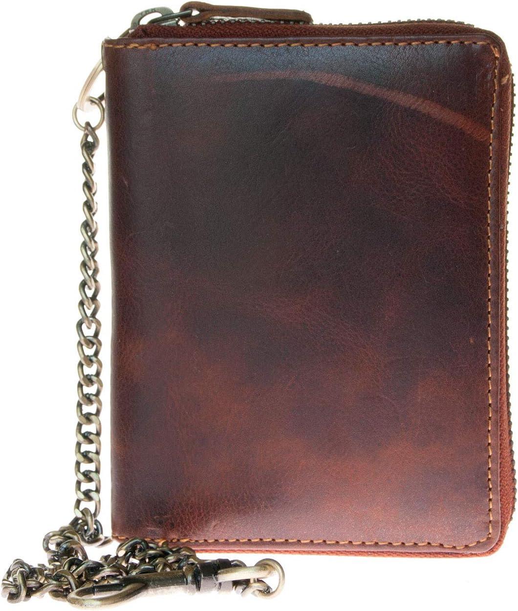 Men's Biker's Metal Zip-around Genuine Leather Wallet with Metal Chain to Hang