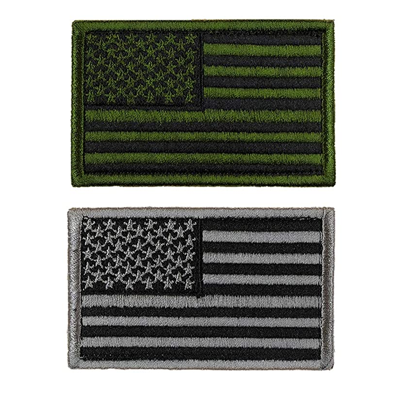 JumpyFire US Flag Velcro Patches, 2 PCS American Flag Military Patches Badges, 3D Embroidered Morale Patches