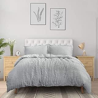 Bedsure Duvet Cover Set Queen Size (90 x 90 inches) - Seersucker Stripe - 3 Pieces (1 Duvet Cover + 2 Pillow Shams), Light Grey - Ultra Soft Microfiber - Duvet Covers with Zipper Closure, Corner Ties
