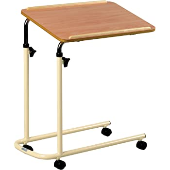 Days Overbed Table with Castors, Adjustable Height and Angle, Portable and Sturdy Laptop Desk with Wheels, Fully Adjustable Bed and Chair Table, Laminated Top, Fixed Version