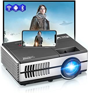 Mini Smart Projector WiFi Bluetooth Projector, Wireless Portable Projector with Built-in Speakers HDMI USB VGA AV Audio Ou...