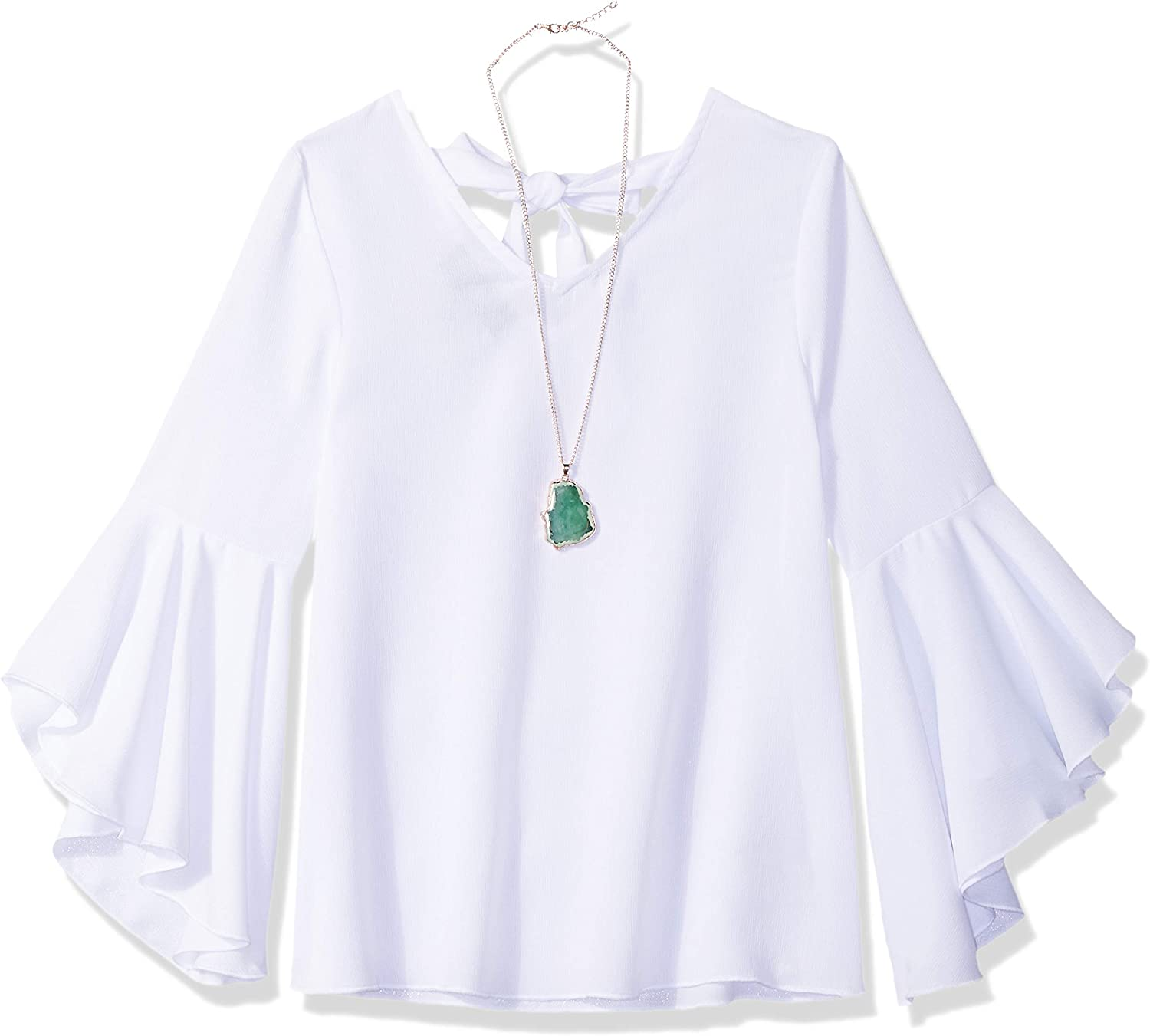 Amy Byer Girls Big Tie Front Woven Shirt with Lace Detail on Sleeve