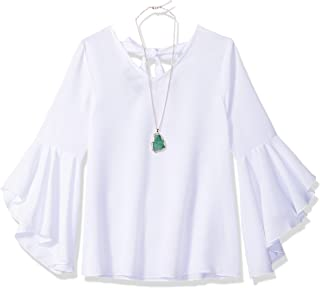 Girls' Big 7-16 Bell Sleeve Woven Top with Back Detail