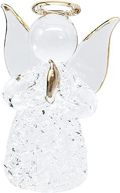 Ebros Gift Beautiful Inspirational Handblown Glass Art Prayer Guardian Angel Ornament Figurine Collectible in Window Gift Box
