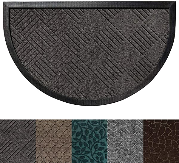 Gorilla Grip 原装耐用橡胶门垫重型门垫适用于室内户外 35x23 半圆防水易清洁低调地毯垫子适用于入口露台高交通区域灰色钻石