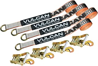 VULCAN Car Rim Tie Downs with Ratchets - 2 Inch x 144 Inch, 4 Pack - Silver Series - 3,300 Pound Safe Working Load