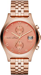 Marc by Marc Jacobs The Slim Women's Peach Dial Stainless Steel Band Chronograph Watch - MBM3384