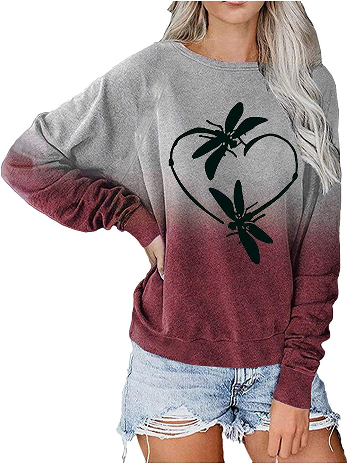 Womens Long Sleeve Tops,Women's Plus Size Casual Pullover Round Neck Long Sleeve Tie Dye Colorful Sweatshirt Shirt