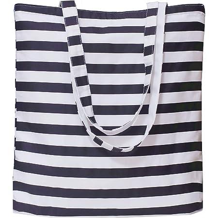 Tobeso Sac en Coton Toile Sac fourre sac à provisions réutilisable Coton épaule Sacs écologique épicerie Sacs pour Femmes (Noir- Blanc- Rayures)