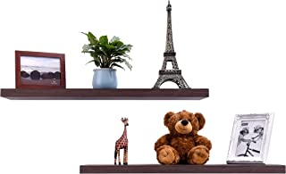 EMERIT Floating Wall Mountable Shelf Set of 2 Wall Storage Shelves for Bedroom, Living Room, Bathroom, Kitchen, Office  Dark Brown