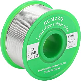 HGMZZQ Lead Free Solder Wire with Rosin Core for Electrical Soldering Sn99 Ag0.3 Cu0.7 100g 0.031 inch(0.8mm-0.22lbs)