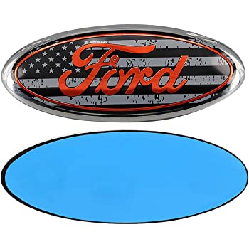 0.875in x 2.25in Sparkoo F-57FGB 2X Black USA American Flag Steering Wheel Logo Emblem Badge Overlay Decal For Ford F-150 F-250 F-350 Grey Flag