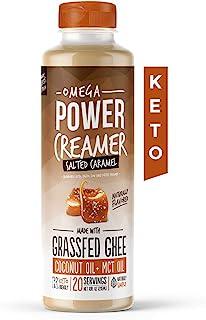 Omega PowerCreamer - Salted Caramel Keto Coffee Creamer - Grassfed Ghee, MCT Oil, Organic Coconut Oil, Stevia Powder | Liq...