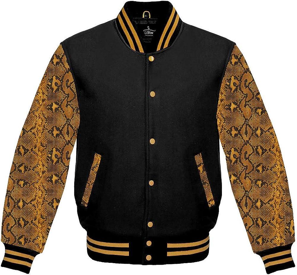 Varsity Jacket Baseball Letterman Bomber School Of Black Wool And Snake Skin Sublimated Cowhide Leather Sleeves
