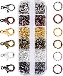JZK 140 pcs Jewellery Lobster Claw Clasps + 990 pcs Open Jump Rings, Jewelry Accessories kit for Jewellery findings Jewelr...