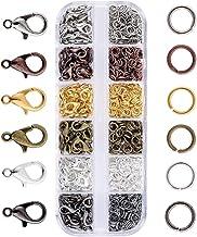 JZK 140 x Ganci Chiusure moschettone + 990 x anellini Aperti, Set Accessori Kit per bigiotteria Fai da Te creazione Gioielli di Braccialetti collane Portachiavi