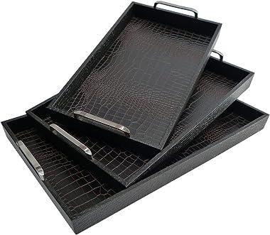 "Set of 3 Brown Rectangular Handmade Contemporary Style Large Alligator Skin Tray 23"""