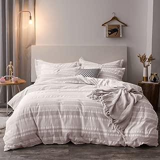 Lausonhouse Cotton Duvet Cover Set,100% Cotton Yarn Dyed Seersucker Woven Stripe Comforter Cover with 2 Pillowshams-Queen