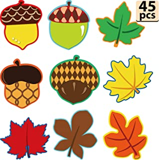 45 Pieces Maple Leaves and Acorns Colorful Cut-Outs Versatile Classroom Decoration with Glue Point Dots for Thanksgiving Bulletin Board Classroom School Fall Theme Party, 5.9 x 5.9 Inch