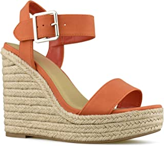 9573570bc Premier Standard Women s Peep Toe Ankle Strap Buckle Espadrille Wedge  Sandals