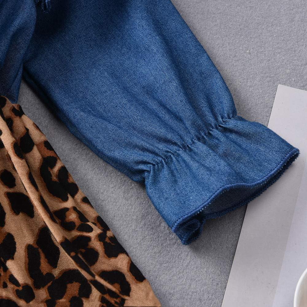 Toddler Baby Girl Long Sleeve Fall Dress Little Girls Denim Leopard Cheetah Ruffle Dressses