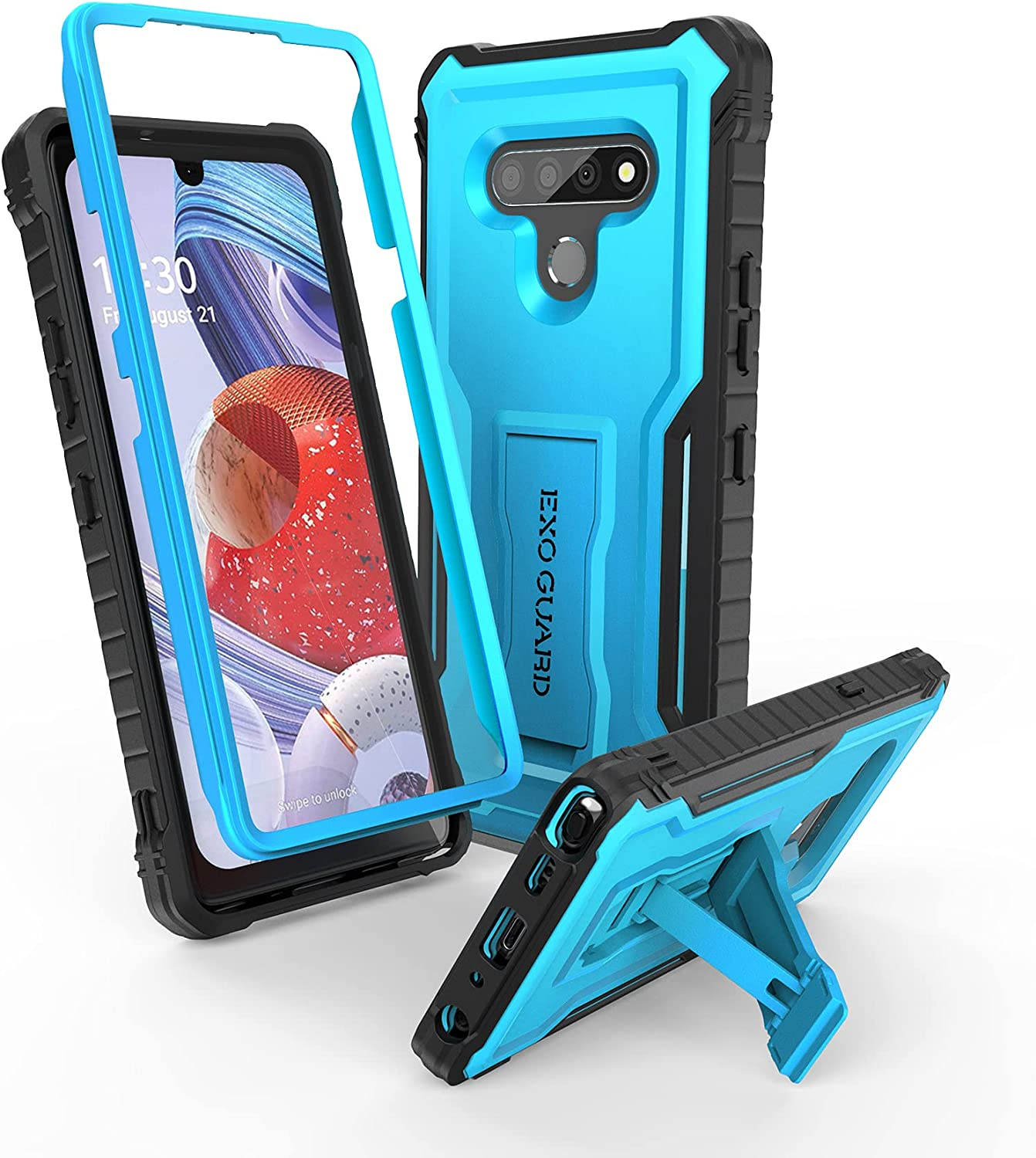 ExoGuard for LG Stylo 6 Case, Rubber Shockproof Cover Case Compatible with LG Stylo 6 Phone, Built-in Kickstand (Blue)