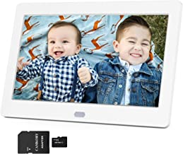 Digital Picture Frame 1280x800 16:9 IPS Wide Screen Include 32GB SD Card, HD Video Frame, Picture Auto Rotate, Auto Turn On/Off, Auto Play Photos, Background Music, Support MAX 128G USB Drive/SD Card