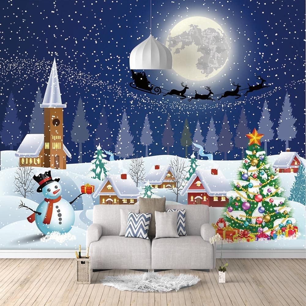 online shop ZXDHNS Photo Wallpaper Wall Mural - Cartoon Christmas W X Opening large release sale Igloo