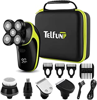 Telfun Head Shavers for Bald Men, 5-in-1 Electric Razor for Men w/h LED Display, IPX7-Waterproof, Faster-Charging Mens Gro...