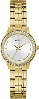 Guess W1209L2 Strass Bezel Round Stainless Steel Analog Watch for Women - Yellow Gold