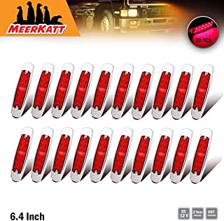 Meerkatt 12V DC (Pack of 20) 6.4 Inch Red LED 12 Diodes Sealed Slime Bulb Side Marker Clearance Lamp Heavy Truck Lighting Peterbilt-style Surface Mount Cab Bumper Kenworth Universal Waterproof BB12