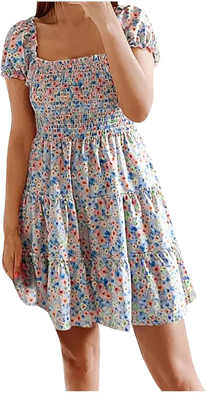 Mini Dress Women's Summer Floral Square Neck Cake Dress Wrapped Chest Dress