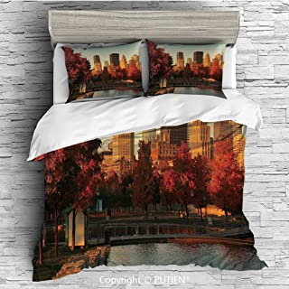 KING Size Cute 3 Piece Duvet Cover Sets Bedding Set Collection [ City,Old Port of Montreal Early in the Morning Scenic Autumn Trees Buildings Canada,Red Orange Brown ] Comforter Cover Set for Kids Gir