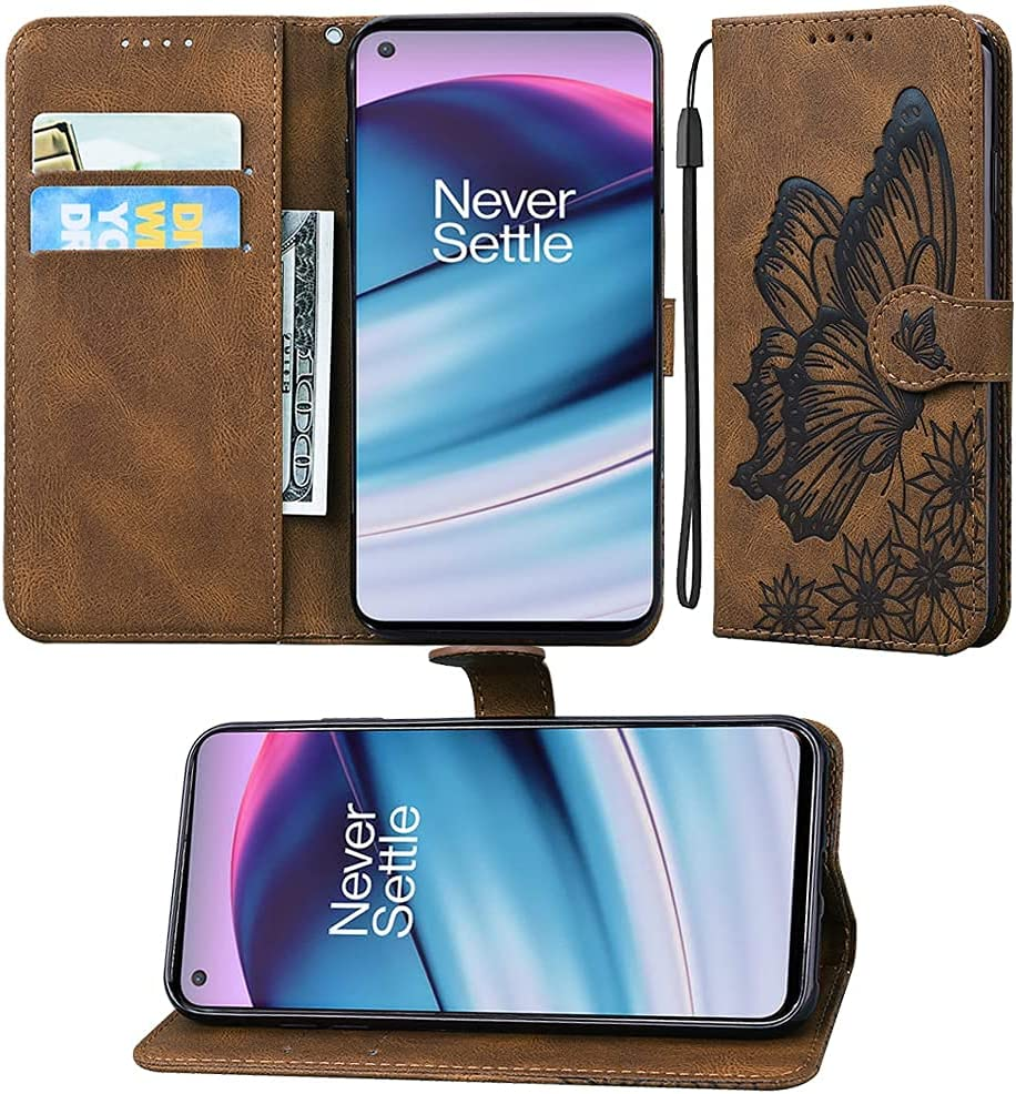 ISADENSER Compatible with OnePlus Nord N200 5G Case, Retro Butterfly Embossing Design PU Leather Wallet Folio Flip Case with Credit Slots & Stand Holder for OnePlus Nord N200 5G Butterfly Yellow CYB