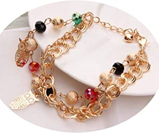 New Gold Color Multilayer Beaded Pendant Bracelets and Bangles Fashion Women Heart Butterfly Charm Bracelet Jewelry Accessories 45