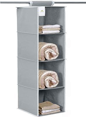 HomeStrap Non Woven Hanging 4 Shelves Wardrobe/Closet Cloth Organizer- Grey