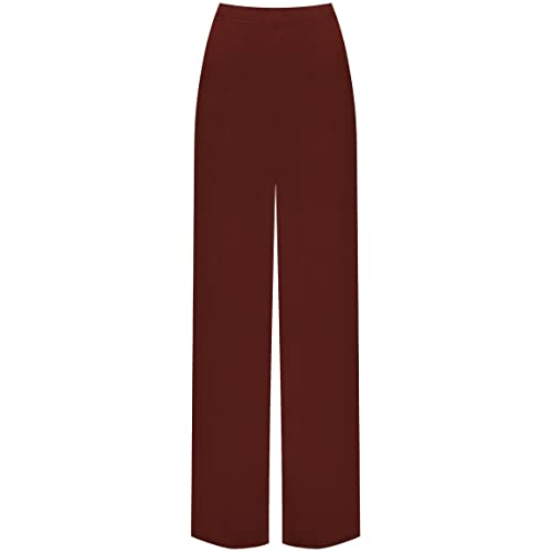 dbfee04b0aa WearAll Plus Size Womens Plain Palazzo Wide Leg Flared Ladies Trousers Pants  - 16-26