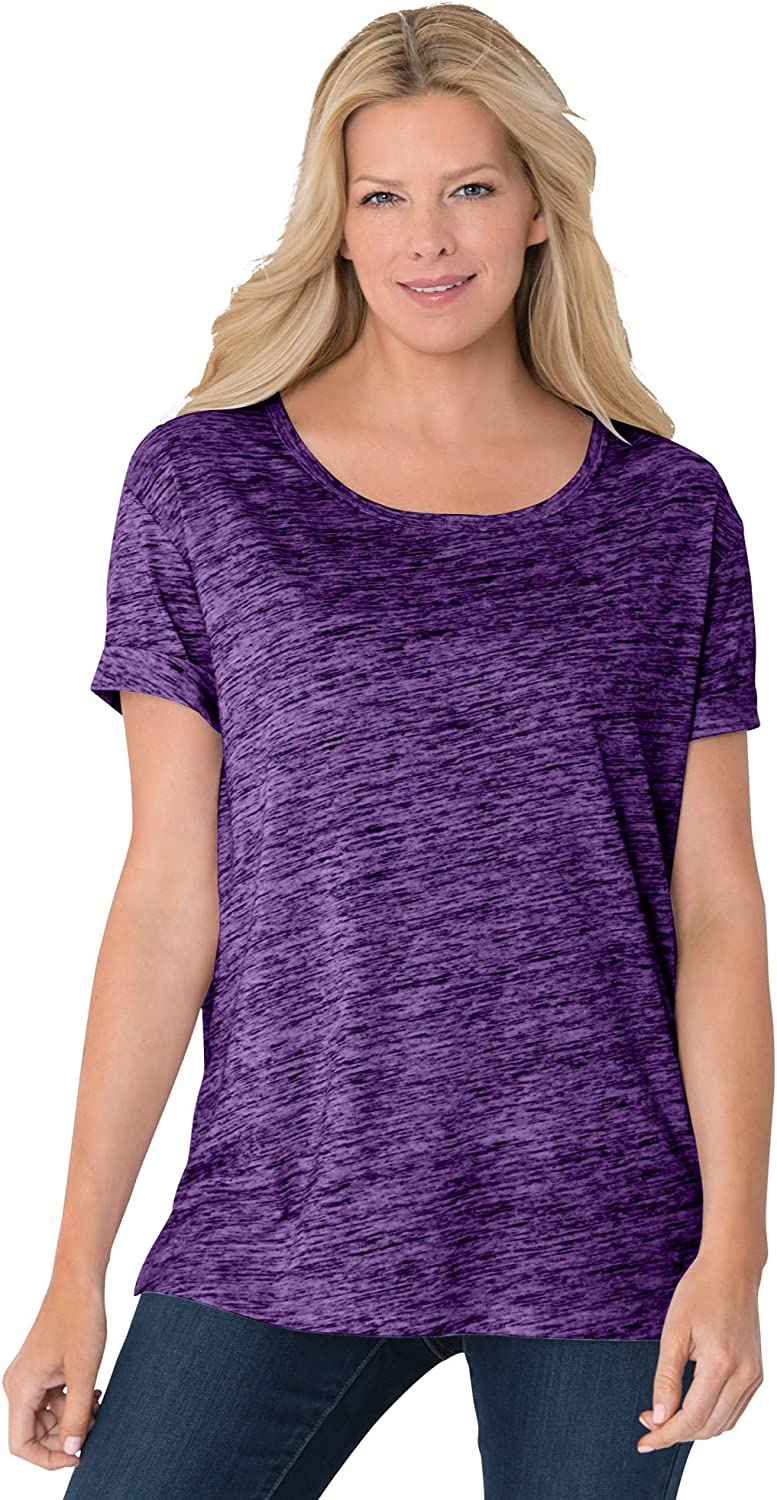 Woman Within Women's Plus Size Marled Cuffed-Sleeve Tee Shirt