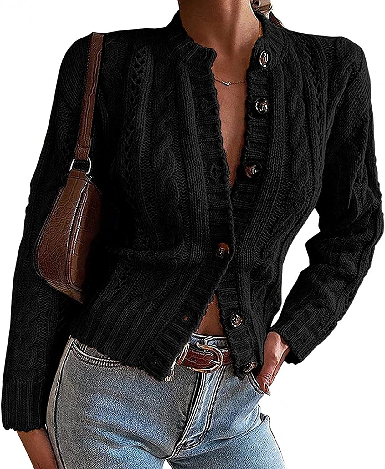 FGDJEE Cardigan Sweaters for Women Sexy Button Down Cropped Boho Open Front Long Sleeve Lightweight Cardigans
