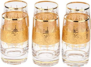 Almarjan Glass Deluxe 250ml Drinkware Set, 6 Pieces, Clear and Gold