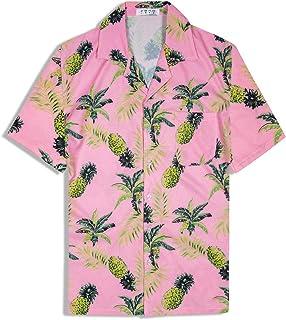 アロハシャツ メンズ 半袖 ハワイ風 プリントシャツ 通気速乾 軽量 花柄シャツ パイナップル 夏 ビーチ ウェディング ウエア オシャレ